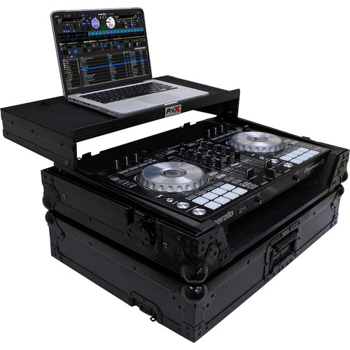 ProX Flight Case for Pioneer DDJ-SR2 Controller with Laptop Shelf and LED Kit (Black-on-Black)