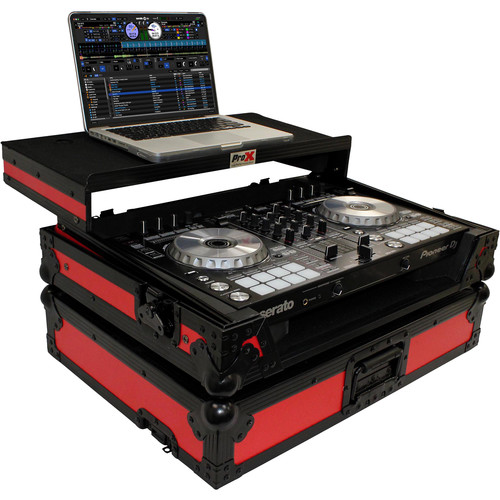 ProX Flight Case for Pioneer DDJ-SR2 Controller with Laptop Shelf and LED Kit (Red-on-Black)