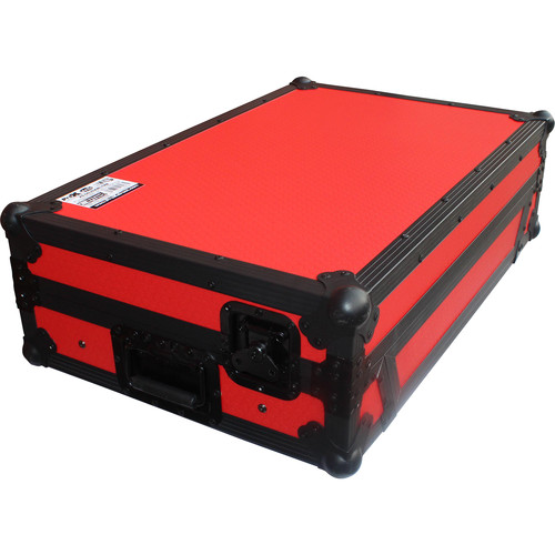 ProX Flight Case for Pioneer DDJ-SZ or DDJ-RZ Controller with Laptop Shelf and Wheels (Black on Red)
