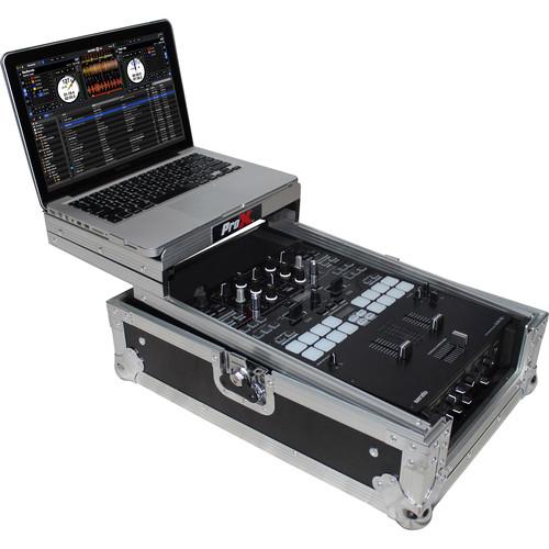 ProX XS-DJMS9LT Flight Case with Sliding Laptop Shelf for Pioneer DJM-S9 Mixer (Silver on Black)