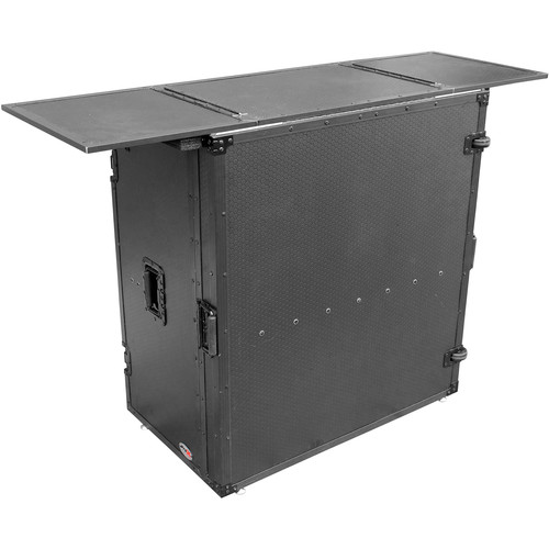 ProX Transformer Series Fold-Away DJ Performance Desk Facade with Wheels (Black/Black)