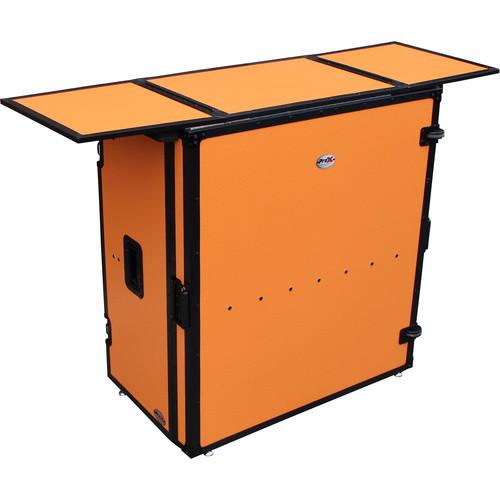 ProX Transformer Series Fold-Away DJ Performance Desk Facade with Wheels (Orange/Black)