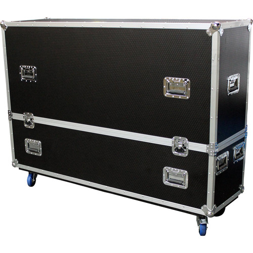 """ProX Adjustable Dual Flight Case with Casters for LED/LCD/Plasma TVs (70 to 80"""")"""
