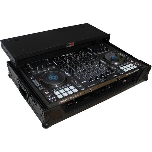 ProX Flight Case for Denon MCX8000 DJ Controller with Sliding Laptop Shelf and Wheels (Black on Black)