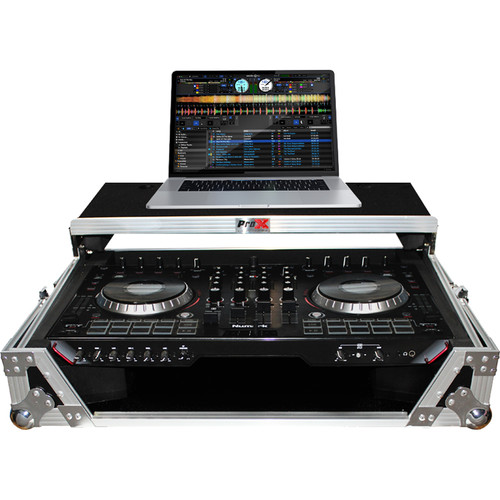 ProX XS-NS6IILT Flight Case with Sliding Laptop Shelf for Numark NS6II DJ Controller (Aluminum on Black)