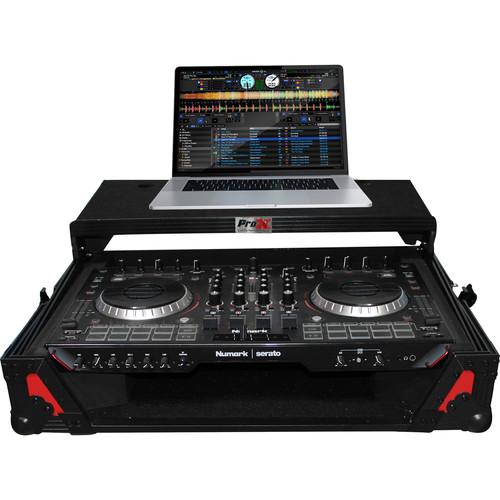 ProX XS-NS6IILT Flight Case with Sliding Laptop Shelf for Numark NS6II DJ Controller (Red on Black)