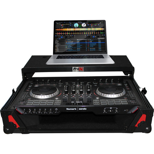 ProX XS-NS6IILT Flight Case with Sliding Laptop Shelf for Numark NS6II DJ Controller (Red on Black)