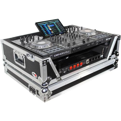 ProX XS-PRIME4 W2U Flight Case with 2 RU Rackspace and Wheels for Denon DJ Prime 4 (Silver on Black)