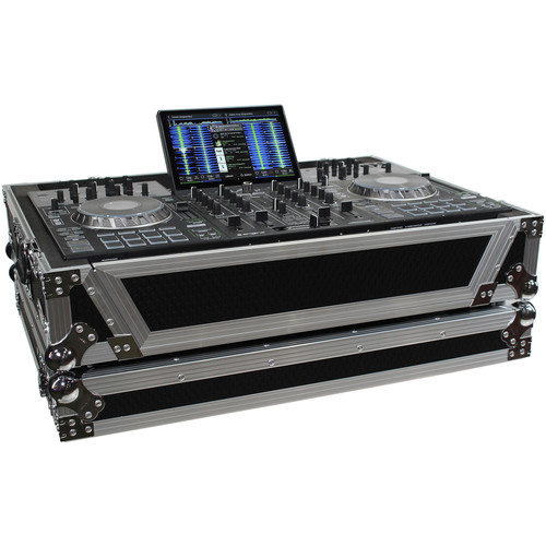 ProX XS-PRIME4 W Flight Case with 1 RU Rackspace and Wheels for Denon DJ Prime 4 (Silver on Black)