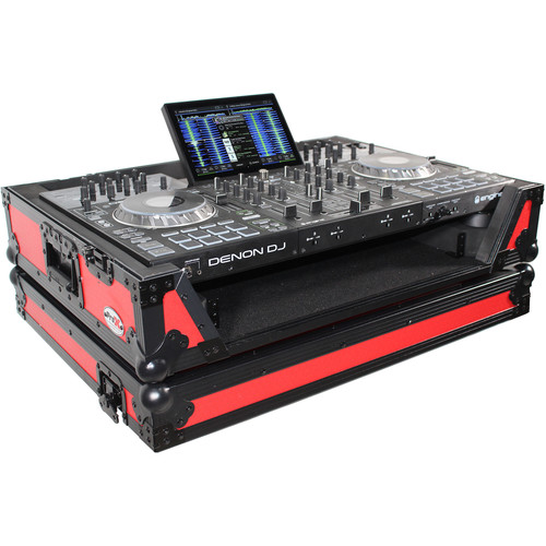 ProX XS-PRIME4 WRB Flight Case with 1 RU Rackspace and Wheels for Denon DJ Prime 4 (Black on Red)