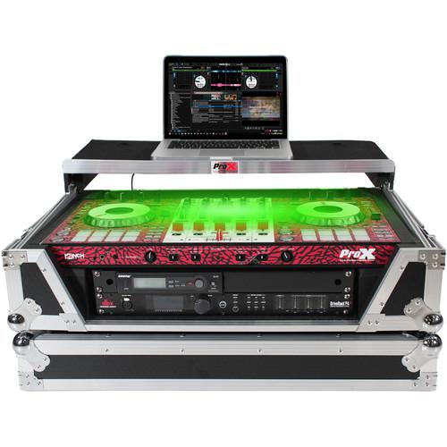 ProX LED Flight Case with 2 RU Rackspace and Wheels for Pioneer DJ DDJ-SX3 or DDJ-1000 (Silver on Black)