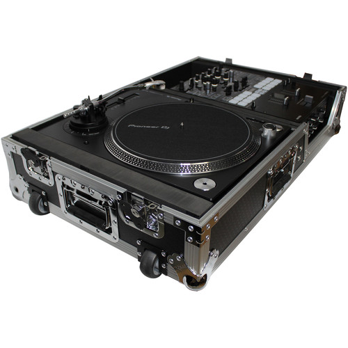 ProX XS-TMC1012W Universal Single-Turntable and Mixer Coffin Case (Silver on Black)