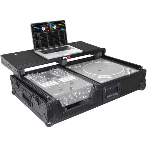 ProX XS-TMC1012WLTBL Compact Coffin Flight Case with Shelf and Wheels for Single Turntable and Mixer (Black on Black)