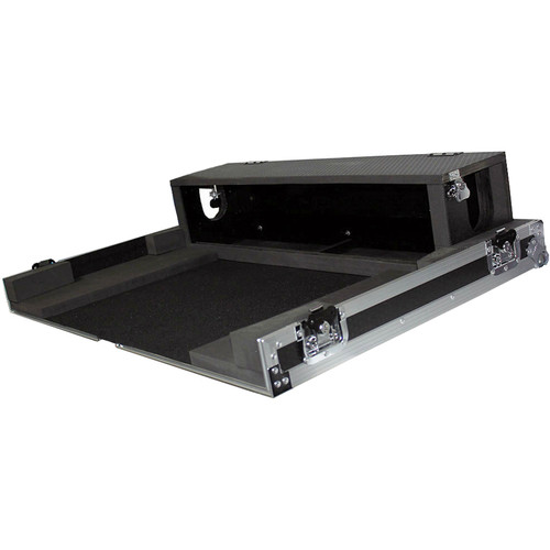 ProX Heavy-Duty Flight Case with Doghouse and Wheels for Yamaha TF3 Studio Mixer Console (Silver on Black)