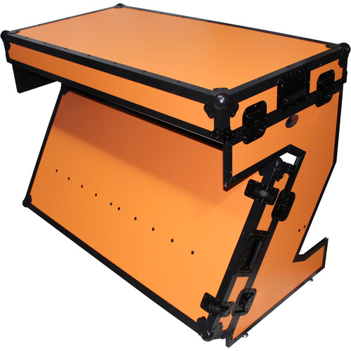 ProX Portable Z-Style DJ Table Flight Case with Handles & Wheels (Orange on Black)