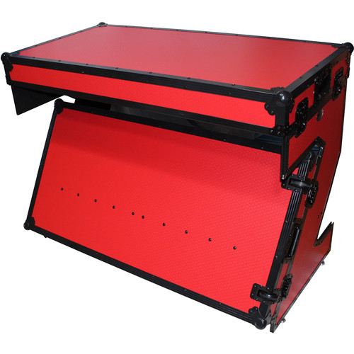 ProX Portable Z-Style DJ Table Flight Case with Handles & Wheels (Red on Black)