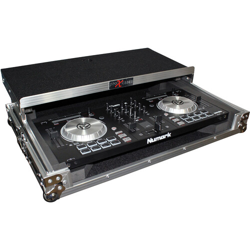 ProX Flight Case for Numark NV/NVII Controller with Laptop Shelf (Silver on Black)