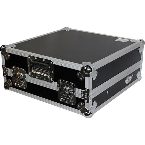 """ProX XS-19MIXLT 19"""" Slant Rackmount Case (10 RU, Silver on Black)"""