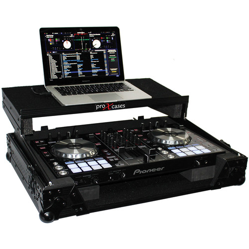 ProX Flight Case For Pioneer DDJ-SR Digital Controller with Laptop Shelf (Black on Black)
