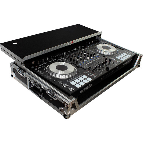 ProX Flight Case for Pioneer DDJ-SZ Controller with Laptop Shelf and Wheels (Silver on Black)