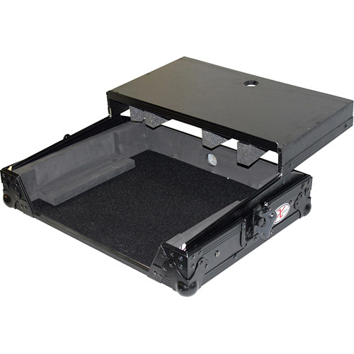 ProX Flight Case For Denon MC6000 and MC6000MK2 Controllers with Laptop Shelf (Black-on-Black)