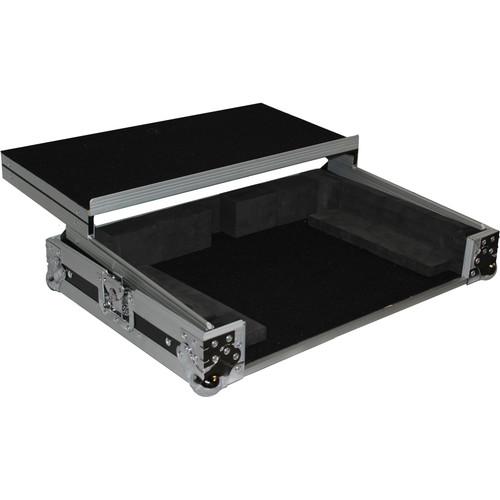 ProX Flight Case For Numark MixDeck Express Controller with Laptop Shelf (Silver-on-Black)