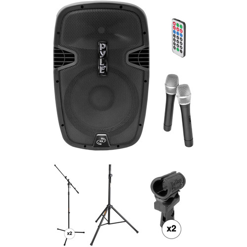 """Pyle Pro 12"""" 1000W Rechargeable Bluetooth PA Speaker System with Two Microphones and Stands Kit"""