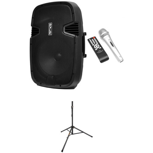 """Pyle Pro 12"""" Rechargeable Bluetooth PA Speaker System with Stand and Microphone Kit"""
