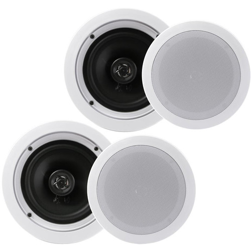 """Pyle Pro 6.25"""" In-Wall/In-Ceiling 200W 2-Way Stereo Speakers (Pair, White)"""