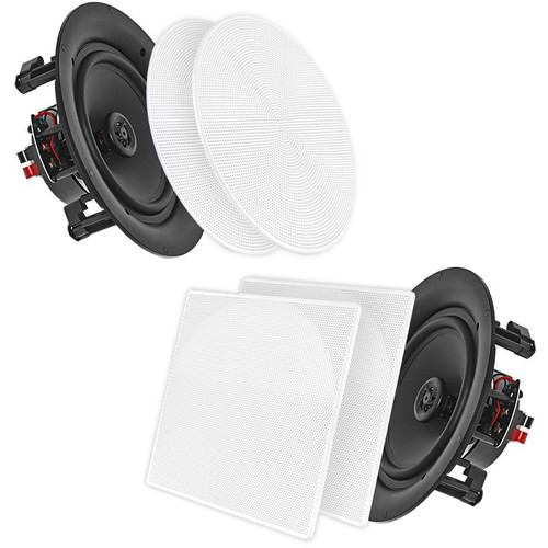 """Pyle Pro PDIC66 6.5"""" In-Wall/In-Ceiling 200W 2-Way Dual Stereo Speakers (Pair, White)"""