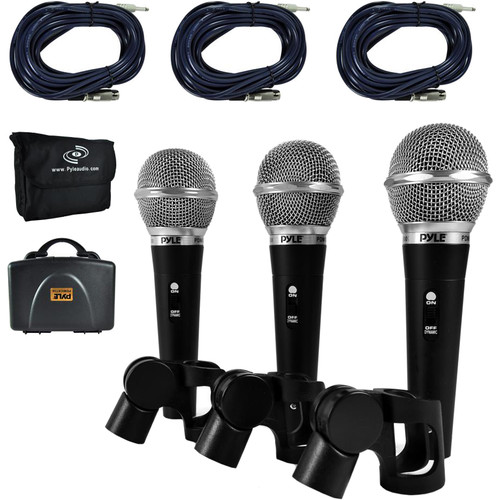 Pyle Pro Dynamic Handheld Microphone Kit with XLR Cables (3-Pack)