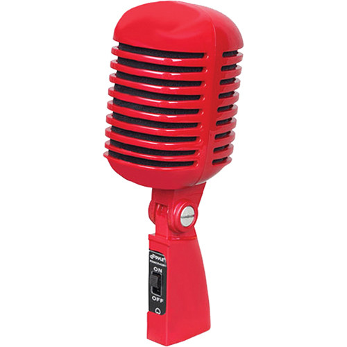 Pyle Pro PDMICR42R - Classic Retro Vintage Style Dynamic Vocal Microphone with 16' XLR Cable (Red)