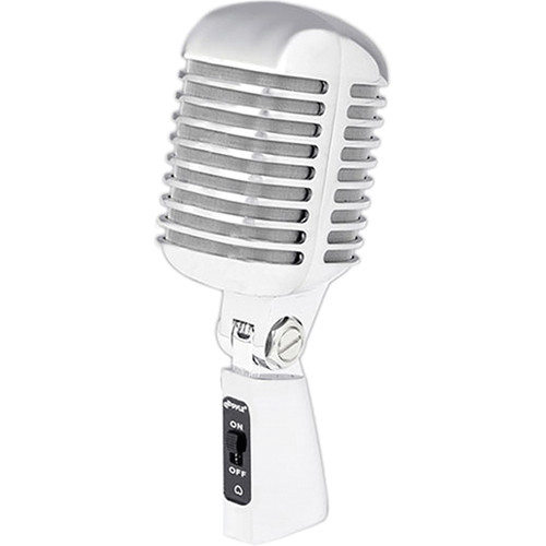 Pyle Pro PDMICR42 Classic Retro Cardioid Vocal Microphone with Cable (Silver)