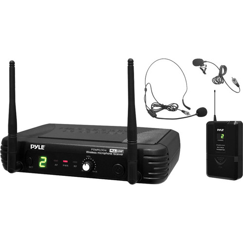Pyle Pro PDWM1904 Single-Channel Wireless System with Headset & Lavalier Microphones