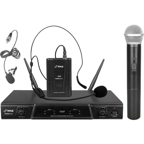 Pyle Pro PDWM-2115 Dual-Channel VHF Wireless Handheld & Lavalier/Headset Microphone System (170-260 MHz)
