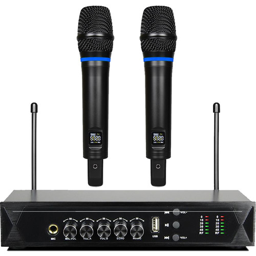 Pyle Pro PDWM2120 UHF Wireless System with 2 Handheld Microphones & Receiver with Bluetooth