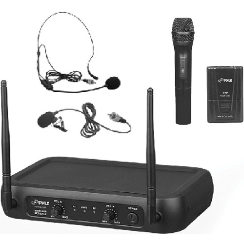 Pyle Pro PDWM2140 VHF Dual-Frequency Wireless System with Handheld, Lavalier, and Headset Microphones