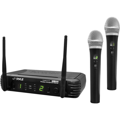Pyle Pro PDWM3375 Premier Series Professional 2-Channel UHF Wireless Handheld Microphone System with Selectable Frequencies