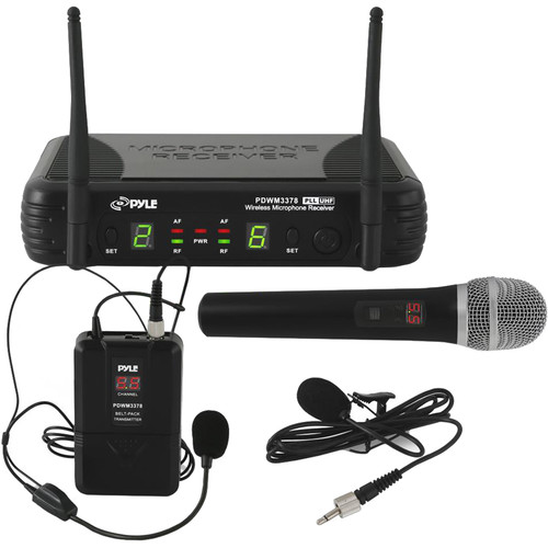 Pyle Pro UHF Wireless Microphone System Kit with Handheld, Headset, and Lavalier Mics