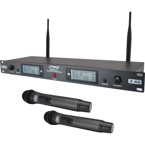 Pyle Pro 2.4 GHz Rackmount Dual Wireless Handheld Microphone System