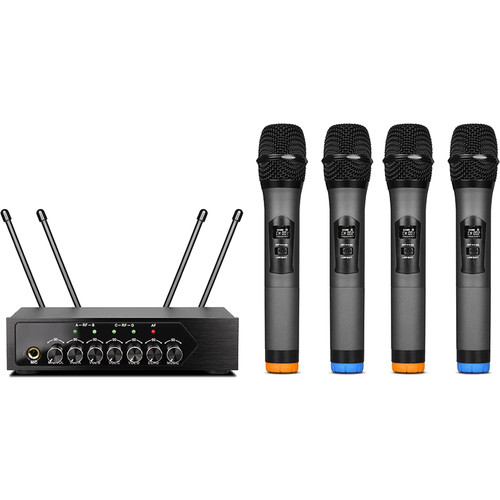 Pyle Pro PDWM4120 UHF Wireless System with 4 Handheld Microphones & Receiver with Bluetooth