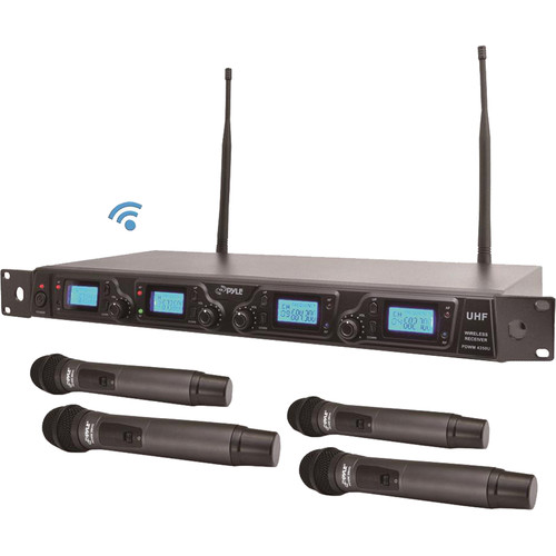 Pyle Pro UHF Quad-Channel Rackmountable Wireless Microphone System (1 RU)