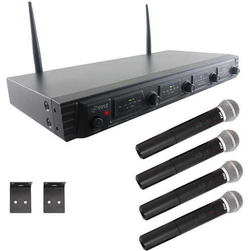 Pyle Pro PDWM4520 Wireless UHF Quad Channel Microphone System with Four Handheld Microphone (1 RU)