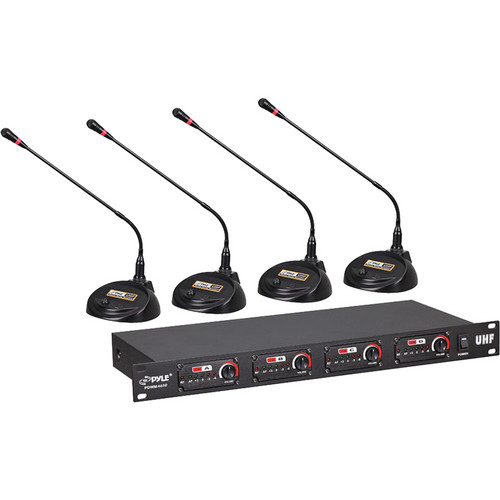 Pyle Pro PDWM4650 4-Channel Desktop Conference UHF Wireless Microphone System