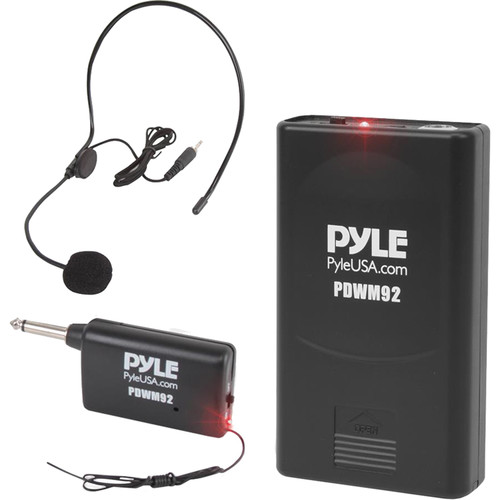 Pyle Pro PDWM92 VHF Wireless System with Beltpack Transmitter, Headset Microphone & Plug-In Receiver