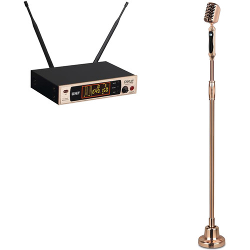 Pyle Pro Classic Retro Vintage-Style Wireless Microphone System with Swing Stand