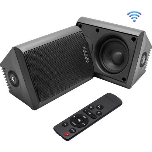 "Pyle Pro 4"" 200 Watt Indoor/Outdoor Wall Mount Speakers with WiFi Bluetooth Streaming (Black) (Pair)"