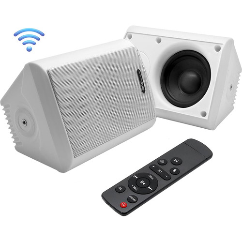 """Pyle Pro 4"""" 200 Watt Indoor/Outdoor Wall Mount Speakers with WiFi Bluetooth Streaming (White) (Pair)"""