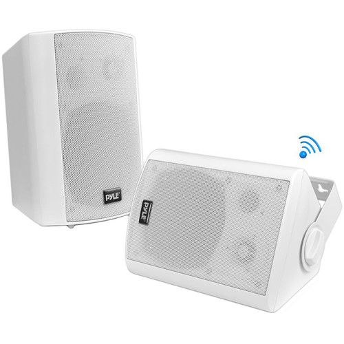 "Pyle Pro 6.5"" Bluetooth Wall Mount Waterproof & Bluetooth Speakers (White, Pair)"