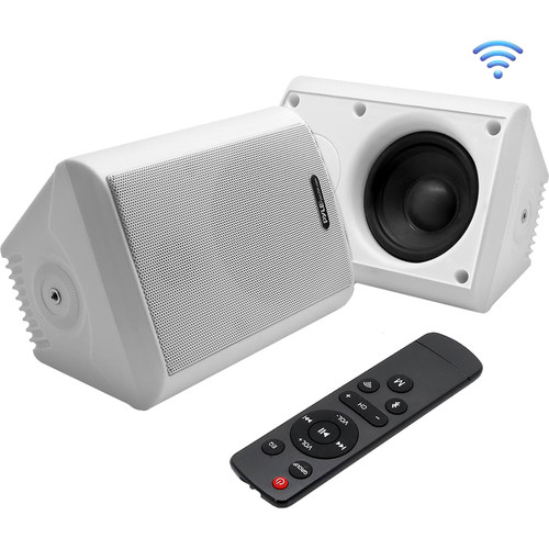 Pyle Pro 6.5Wall-Mount Waterproof Speaker System with BT Audio RF Streaming (White) (Pair)
